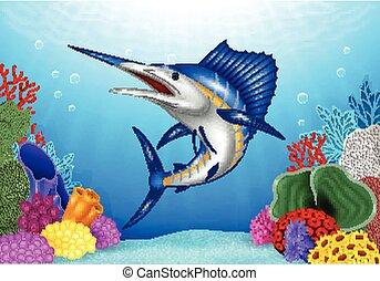 bleu, corail, dessin animé, récif, marlin