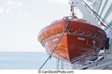 bleu, corde, canot de sauvetage, orange