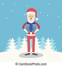 bleu, corps, entiers, hiver, cadeau, caricature, claus, fond, boîte, elle, santa, mains, paysage