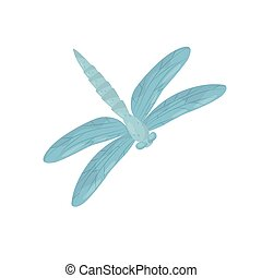 bleu, corps, paires, plat, fast-flying, long, wings., grand, clair, vecteur, conception, deux, petit, dragonfly., insecte