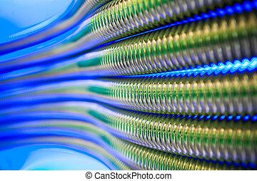 bleu, corrugation, résumé, métal, fond, canaux transmission