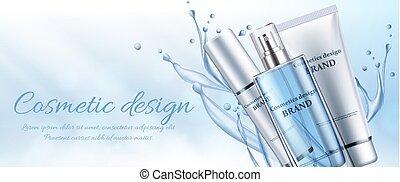 bleu, cosmetics., vecteur, bannière, illustration
