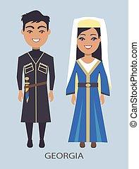 bleu, costumes, géorgie, vecteur, illustration
