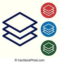 bleu, couches, buttons., ensemble, couleur, isolé, illustration, arrière-plan., vecteur, cercle blanc, icône