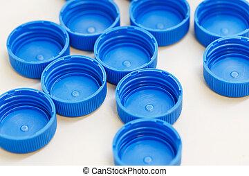 bleu, couleur, casquette, bouteille, plastique
