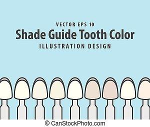 bleu, couleur, dentaire, illustration, dent, arrière-plan., vecteur, ombre, guide, concept.