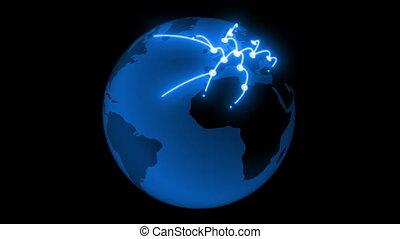 bleu, couleur, réseau global, croissant