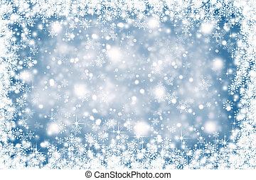 bleu, couleur, résumé, Flocons neige, fond, noël, flou