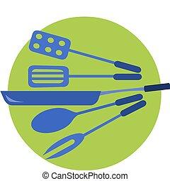 bleu, couleurs, arrière-plan vert, outils, cuisine