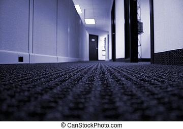 bleu, couloir, -, tonalité, bureau