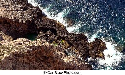 bleu, coup, méditerranéen, eau profonde, mer, aérien, ligne, falaise
