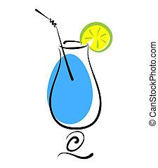 bleu, couper, citron, alcool, cocktail, paille, verre