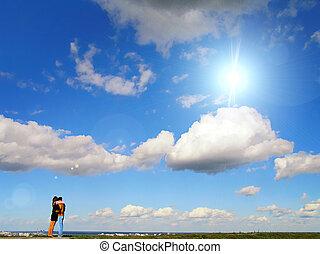 bleu, couple, ciel, contre