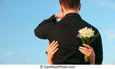 bleu, couple, ciel, romantique, contre