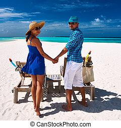 bleu, couple, maldives, plage
