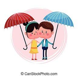 bleu, couple, parapluie, rouges, aimer