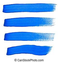 bleu, coups, vecteur, brosse, encre
