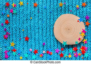 bleu, coupure, coloré, scie, aulne, arrière-plan., étoiles, tricotter