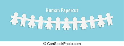 bleu, coupure, concept., illustration, arrière-plan., papier, vecteur, humain, collaboration