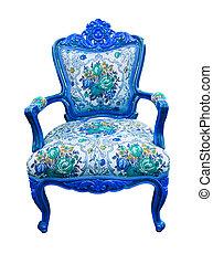 bleu, coupure, fauteuil, isolé, luxe, sentier