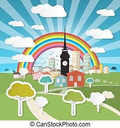 bleu, coupure, nature, mobile, grand, résumé, titre, ciel, screen., arbres, téléphone portable, vecteur, rainbow., papier, paysage, e-livre