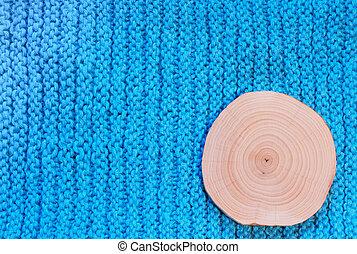 bleu, coupure, tissu, aulne, tricoté, arrière-plan., scie, rond