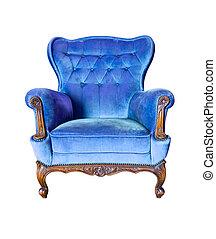bleu, coupure, vendange, isolé, luxe, fauteuil, sentier