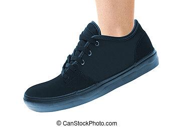 bleu, courant, sport, chaussure