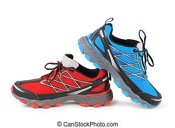 bleu, courant, sport, chaussure, rouges
