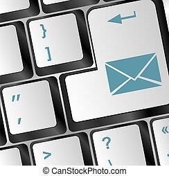 bleu, courrier, bouton, clavier
