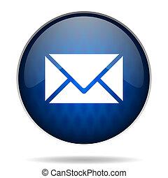 bleu, courrier, icône internet