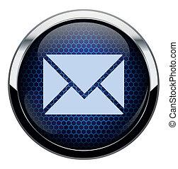 bleu, courrier, icon., rayon miel