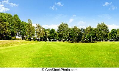 bleu, cours, golf, ciel
