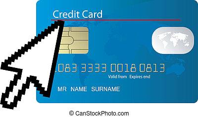 bleu, crédit, carte ordinateur, icône