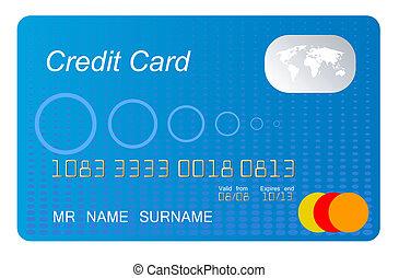 bleu, crédit, vecteur, carte