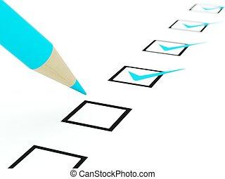 bleu, crayon, blanc, isolé, liste contrôle