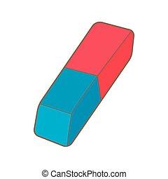 bleu, crayon, gomme caoutchouc, rouges, icône