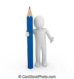 bleu, crayon, humain, 3d