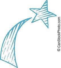 bleu, croquis, étoile, vectorized, illustration, encre, tir