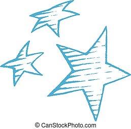 bleu, croquis, vectorized, illustration, étoiles, encre