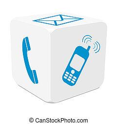 bleu, cube, coloré, téléphone mobile, -, tracer, e-mail, téléphone, blanc, 3d, icône