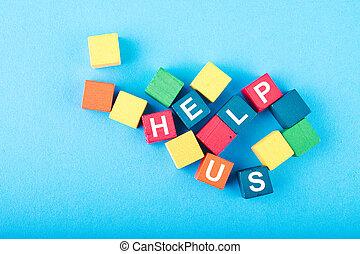 bleu, cube, mot, aide, coloré, support bois, nous, concept, fond, charité