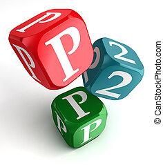 bleu, cube, mot, dés, vert, p2p, rouges
