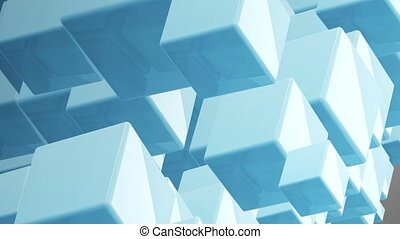 bleu, cubes, fond, boucle