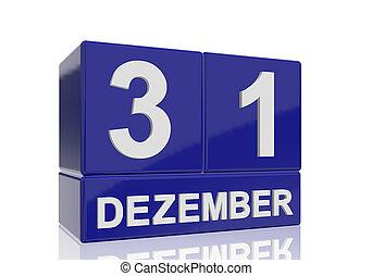 bleu, cubes, lettres, reflet, 31, arrière-plan., dezember, nombres, date, blanc, brillant