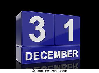 bleu, cubes, lettres, reflet, 31 décembre, arrière-plan., noir, nombres, date, blanc, brillant