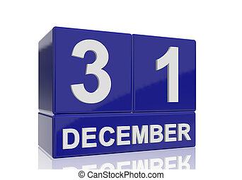 bleu, cubes, lettres, reflet, 31 décembre, arrière-plan., nombres, date, blanc, brillant