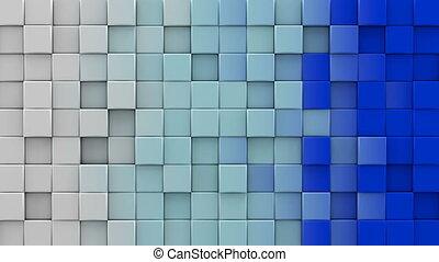 bleu, cubes, render, loopable, animation, blanc, 3d