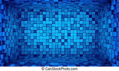 bleu, cubes, salle, extruding., seamless, animation, boucle, 3d