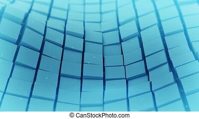 bleu, cubes, waving., loopable, animation, surface, 3d